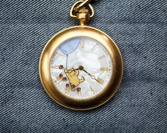 Vintage Disney Winnie The Pooh Pocket Watch quartz gold tone with chain