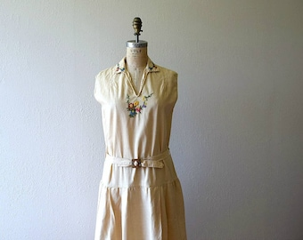 1920s embroidered dress . vintage 20s day dress