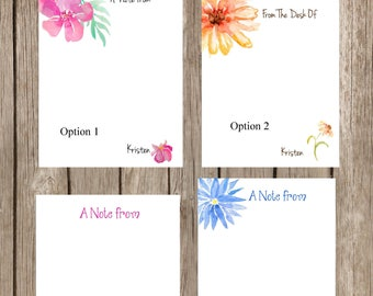 watercolor flower notepads/notepads/note pads/custom note pads/personalized note pads/floral note pads/watercolor note pads/water color