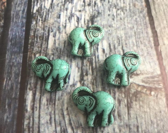 Czech Elephant Beads 21m x 20m single hole Glass Turquoise Picasso Black Wash Overlay 4 pieces in each bag