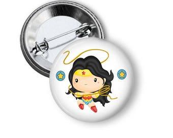 Wonder Woman Pin Cute Wonder Woman Button Marvel Comics Superhero Button B93