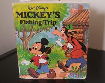 Vintage Disney Mickey Pop Up Book - Walt Disney's Mickey's Fishing Trip - 1983