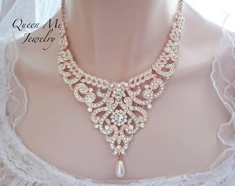 Rose gold bib necklace Statement necklace Rose gold crystal necklace Pearl necklace Rose gold wedding necklace Brides necklace JewelryMIA