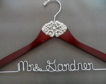 RHINESTONE Wedding Hanger, 1920's Theme Wedding, Crystal Hanger, Mrs Hanger, Personalized Hanger, Custom Bridal Hanger, Wedding Dress Hanger