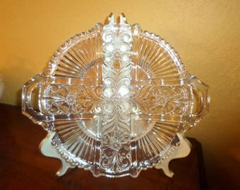 Cut Glass Vintage/Round/Cross/Handles/Religious Glass Platter