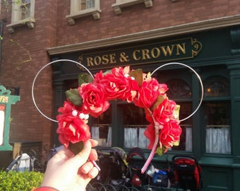 Rose Floral Crown with Ears