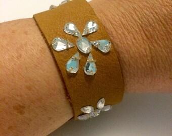 Genuine Brown Leather Cuff Bracelet with rhinestone flowers