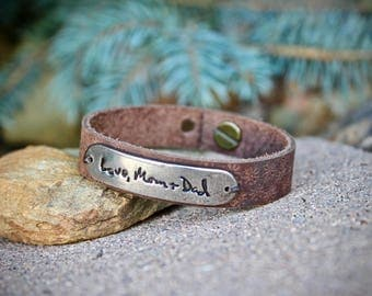 Handwriting Bracelet, Leather Cuff, Handwriting Jewelry, Handwriting Cuff, Real Handwriting, Leather wrap, Adjustable, Handwritten Message