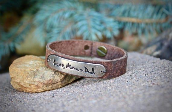 Leather Handwriting Bracelet