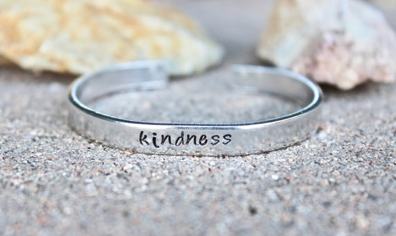 Kindness Bangle Bracelet, kindness Bangle cuff Inspirational bracelet Inspirational Word Bangle Simple Bangle Cuff Simple Silver bangle cuff
