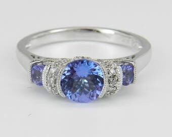Tanzanite and Diamond Three Stone Engagement Promise Ring White Gold Size 7