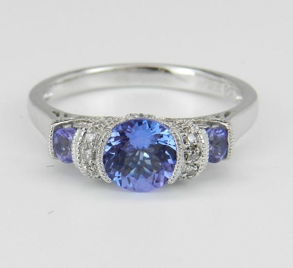 Tanzanite and Diamond Three Stone Engagement Promise Ring White Gold Size 7