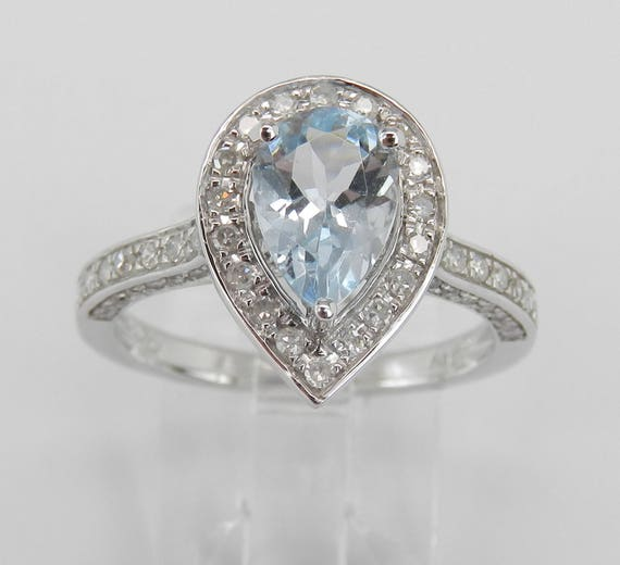 Diamond and Aquamarine Halo Engagement Ring Aqua 14K White Gold Size 7 March Birthstone