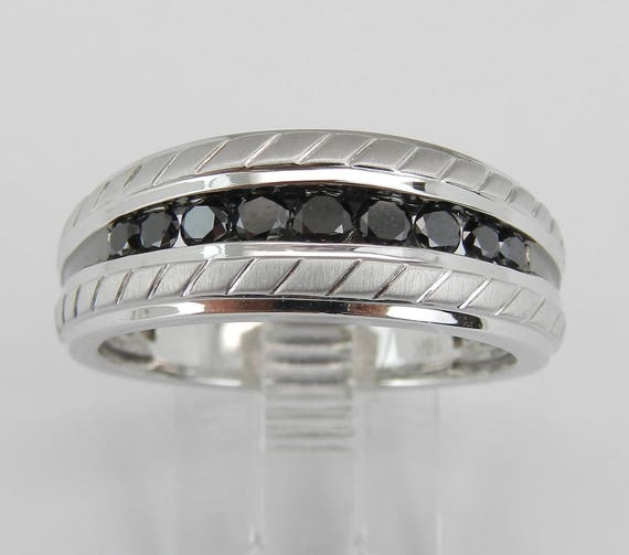 Mens Black Diamond Wedding Ring Anniversary Band White Gold Size 9.75