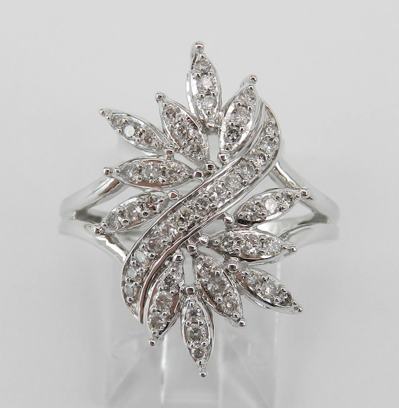 White Gold Diamond Cocktail Cluster Fashion Ring Size 7 Birthday Gift