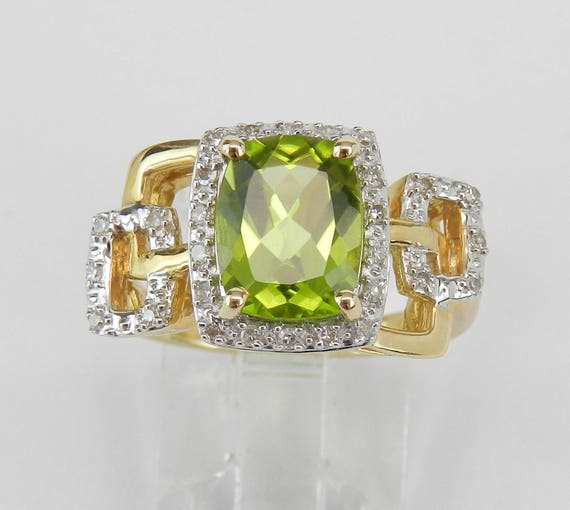 14K Yellow Gold Cushion Cut Peridot and Diamond Halo Engagement Ring Size 7