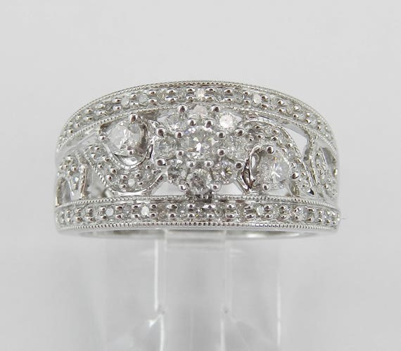 Diamond Anniversary Band Flower Cluster Cocktail Wedding Ring White Gold Size 7