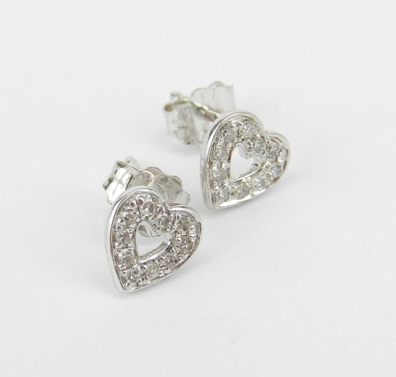 Diamond Heart Stud Earrings Wedding Studs Love Gift White Gold Cluster