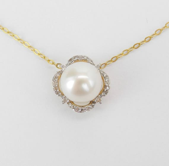 "14K Yellow Gold Diamond and Pearl Halo Pendant Necklace with Chain 17"" June Birthstone"