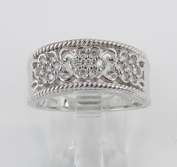 White Gold Diamond Anniversary Ring Flower Cluster Wedding Band Size 7
