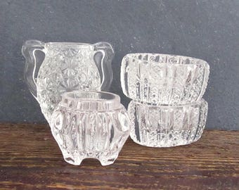 Collection of Chippy Cut Glass, 3 Vintage Cut Glass Salt Cellars, Cut Glass Toothpick Holder, Farmhouse Cottage Decor