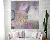Large canvas art Taupe Grey painting with pink and white colorful modern Wall Art ABSTRACT painting 36x36 by DUEALBERI