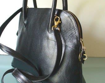 Lionhart Black Pebbled Leather Boston Bag