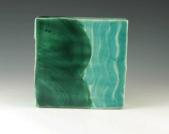 Wall Hanging, Wall Art, Handmade Pottery, Home Decor, Emerald Green and Turquoise Pottery, Wall Art Decor, Modern Art, Ceramic Box, W032