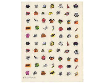 Vintage 80's HALLMARK Stickers Sheet ~ MINI HALLOWEEN Monsters Ghosts Skull Spider Bat