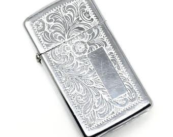 Zippo Engraved Scroll Lighter Silver Metal Vintage 1950s