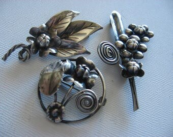 Vintage Handmade Sterling Floral Brooch Pin Lot