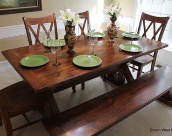 Farmhouse Kitchen Table / Farmhouse Dining Table / Rustic Farmhouse Table / Farm Style Table / Custom & Handcrafted / Farmhouse Trestle