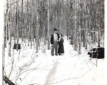 "Vintage Snapshot ""Up To Her Knees"" Bare-Legged Woman Stands In Snow Next To Tall Husband Perspective Found Vernacular Photo"