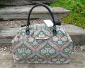 Mary Poppins Bag Carpet Bag Overnight Bag Tapestry Bag green  pink tapestry bag
