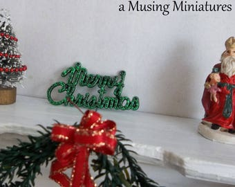 Miniature Merry Christmas Holiday Decoration in 1:12 Scale for Dollhouse Gift