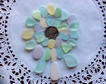 FREE SHIPPING tiny Small &Medium Pastel genuine sea glass PB-J16-32-J