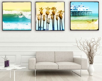 Surf Art, Surfer Art, California Art, Canvas Wall Art, Malibu Pier, Palm Tree Art, Retro Beach Surf Art, Beach Photography Set