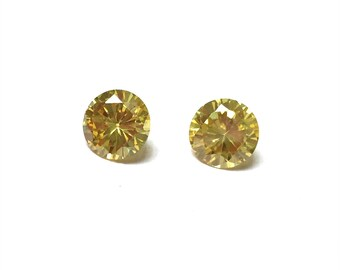 Cubic Zirconia Round Loose Stones. Citrine. Cut Stones. Faceted CZ. Sweet 16. Bridal. Spring. 8mm. One Pair.