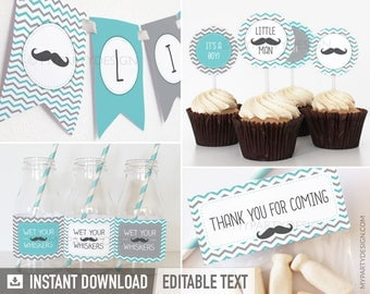 Little Man Baby Shower Party - Mustache - Party Pack - Turquoise - INSTANT DOWNLOAD - Printable PDF with Editable Text