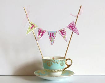 Girls Third Birthday Cake Bunting Topper - Tea Party Decoration - Pink, Green, Blue, Floral