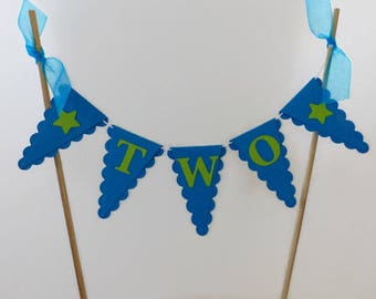 Boys Second Birthday Cake Topper - TWO Year Old Boy - Bright Blue, Lime Green