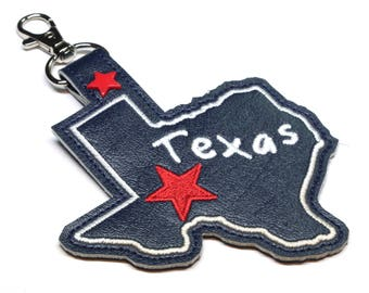 Texas state snap tab - DIGITAL DOWNLOAD - In The Hoop Embroidery Machine Design - key fob - keychain - luggage tag - MollyMade