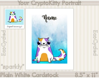 Your Custom CryptoKitties Portrait Print, Crypto Kitties, Archival Print, Wall Art Print, Wall Decor, Cubicle Art, Ether CryptoKitty