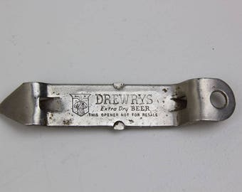 Drewrys Extra Dry Beer Bottle Opener Beer Memorabilia Church Key Opener 1960's  #48-9