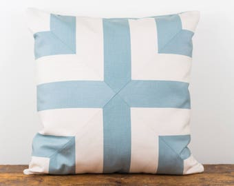 Robin's egg blue and ivory indoor/outdoor pillow cover