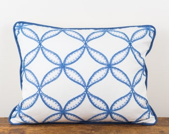 Blue and Ivory Embroidered Pillow Cover