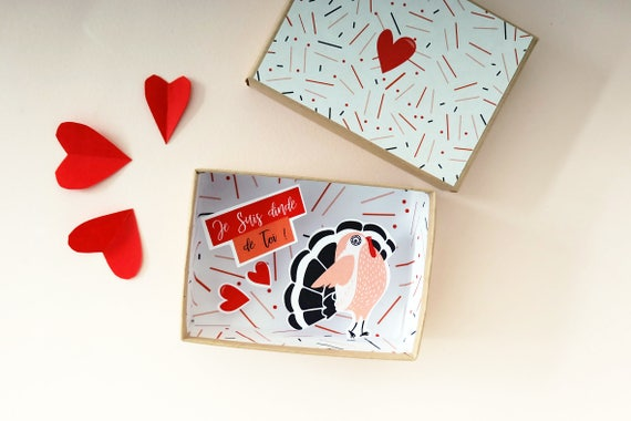 J'suis dinde de toi message box / Miniature Art / Diorama / 3d Art / Decorative Matchbox / Miniature paper diorama / Love message