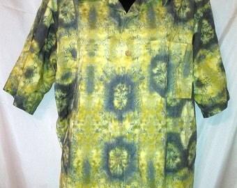 "BIG SUMMER SALE 80s Vintage Mans Tie Die-Shirt-Royal Robbins-Cruise Beach Resort Shirt-Large-44"" Chest-High End Aloha"