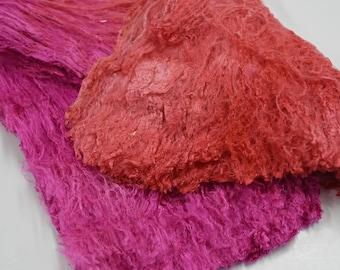 Mulberry Silk Cocoon Fibre Sheet Fabric Felting Fibre Spinning Needle Felting Fibre Arts Mixed Media Pink Mix 45 g 11958