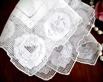 Vintage Madeira Hanky, White Organdy Linen, Lavish Drawnwork, Embroidery, Gray Edge Work, Pristine